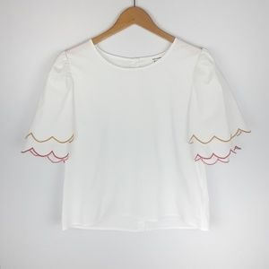 June & Hudson | white scalloped cropped top
